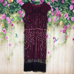 Maroon and Black Gatsby Flapper Style Dress